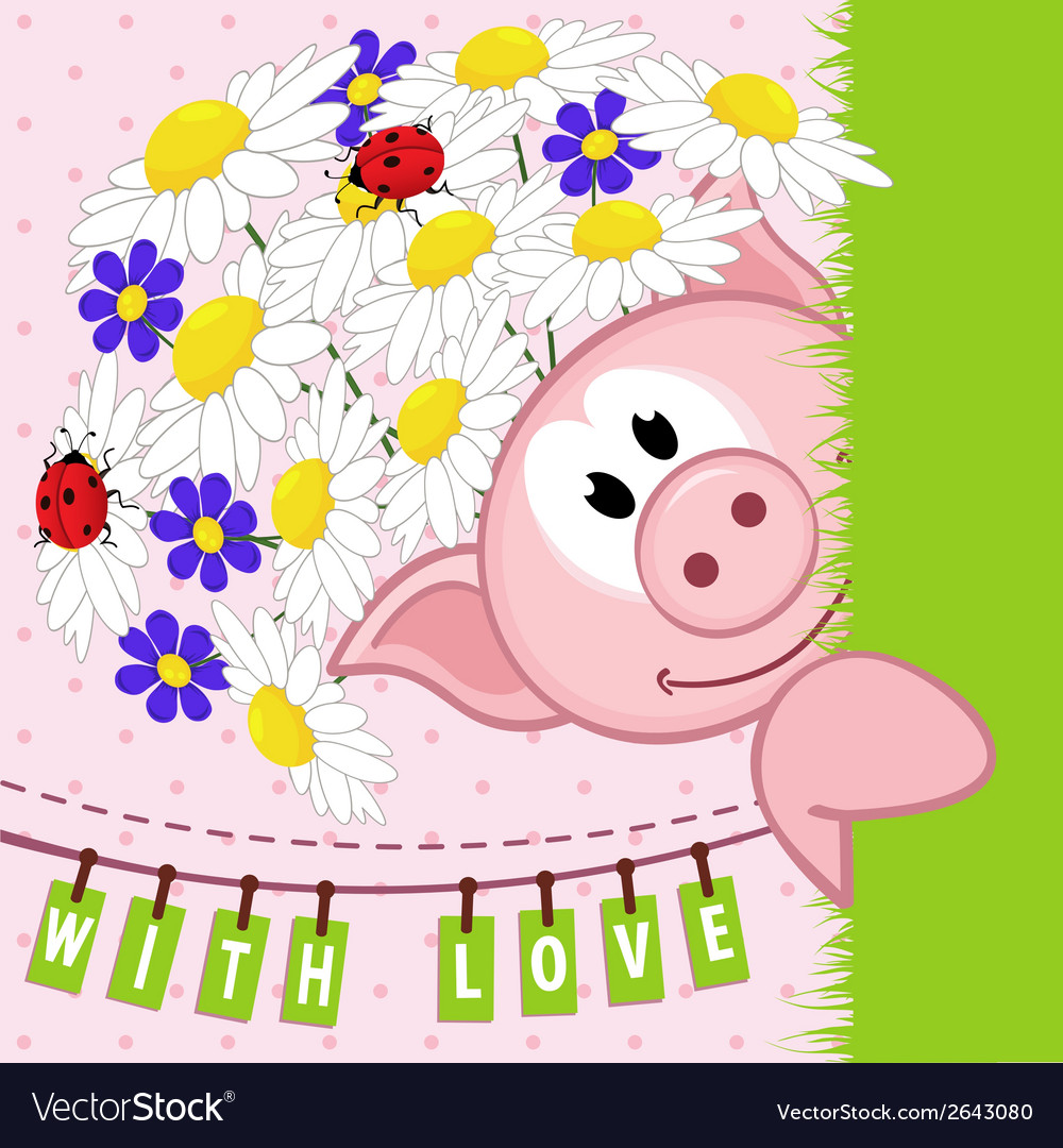 Pig with flowers love vector | Price: 3 Credit (USD $3)
