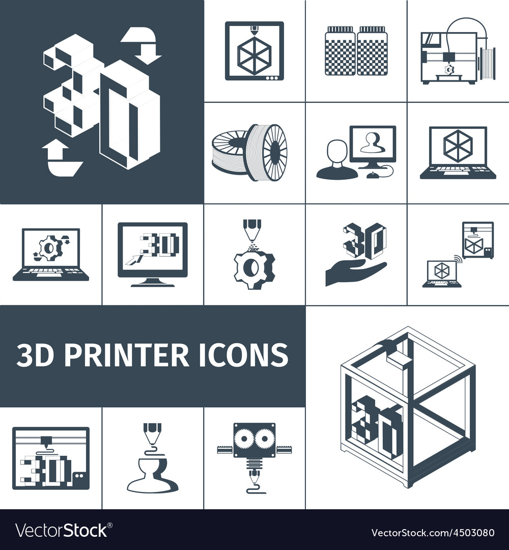 Printer 3d icons vector | Price: 1 Credit (USD $1)