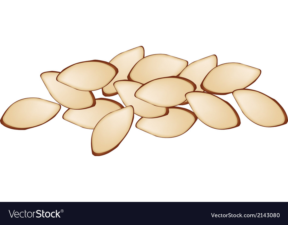 Stack of slice almonds on white background vector | Price: 1 Credit (USD $1)