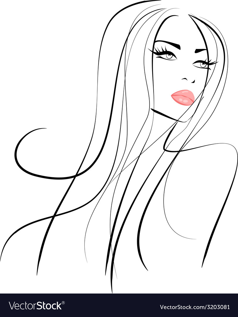 Beautiful girl with long hair and pink lips vector | Price: 1 Credit (USD $1)