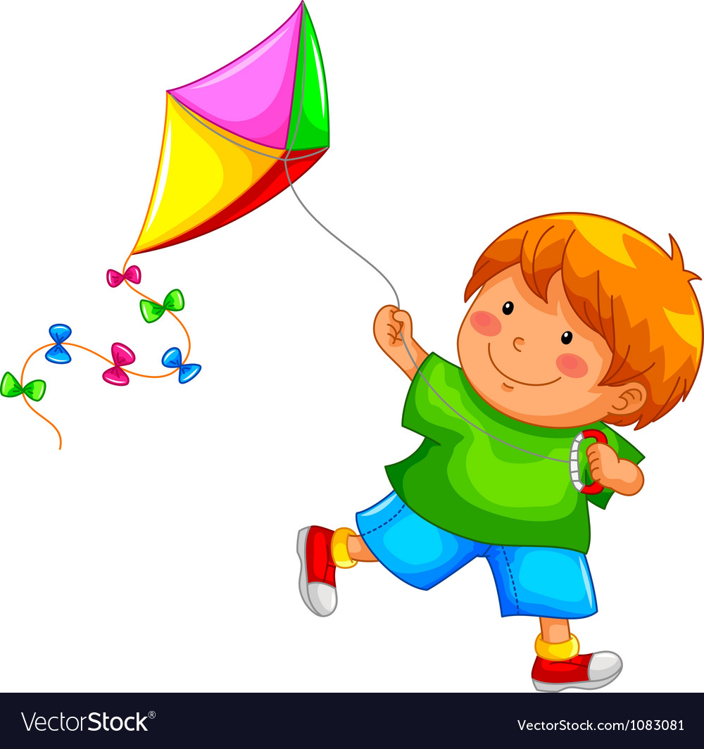 Boy with kite vector | Price: 3 Credit (USD $3)