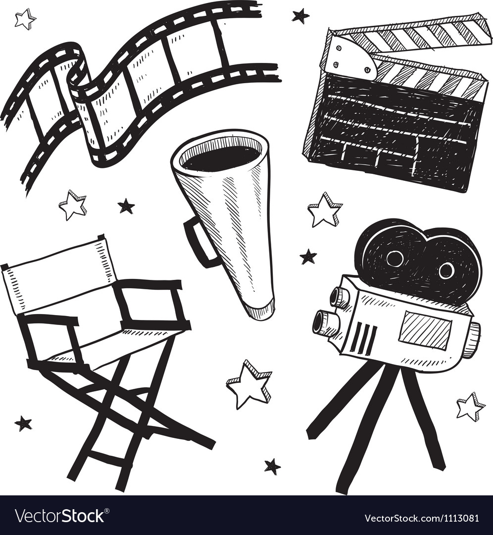 Doodle movie film camera director chair clapper vector | Price: 1 Credit (USD $1)