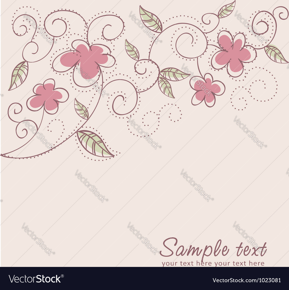 Floral twirl postcard vector | Price: 1 Credit (USD $1)