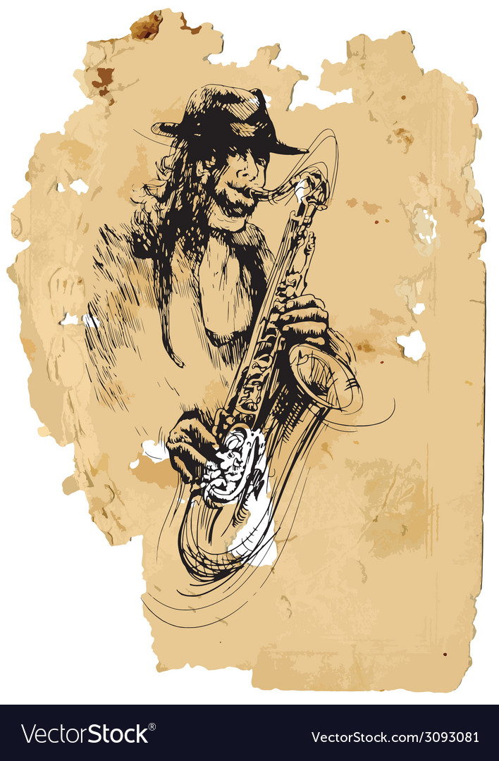 Saxophone player vector | Price: 1 Credit (USD $1)