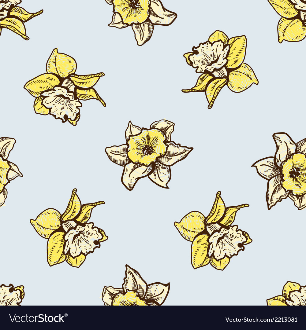 Seamless flowers pattern nature background concept vector | Price: 1 Credit (USD $1)