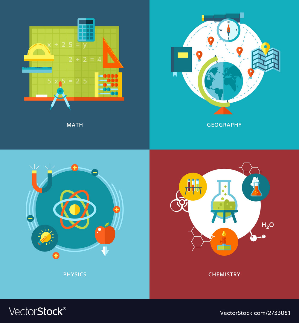 Set of flat design concepts school subjects icons vector | Price: 1 Credit (USD $1)