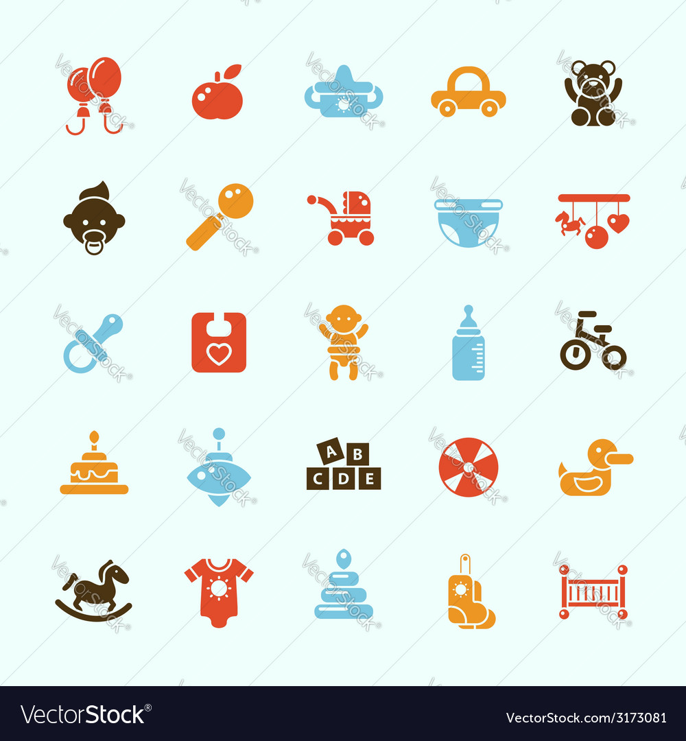 Set of flat design cute baby icons vector | Price: 1 Credit (USD $1)