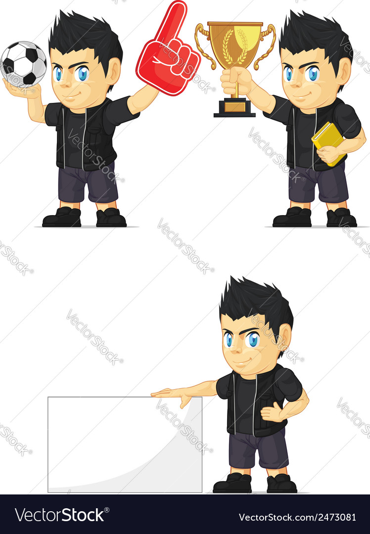 Spiky rocker boy customizable mascot 2 vector | Price: 1 Credit (USD $1)