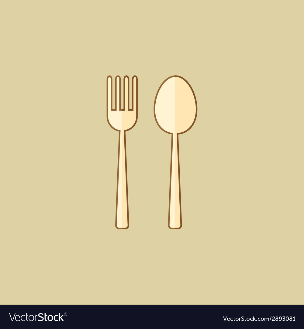 Spoon and fork food flat icon vector | Price: 1 Credit (USD $1)