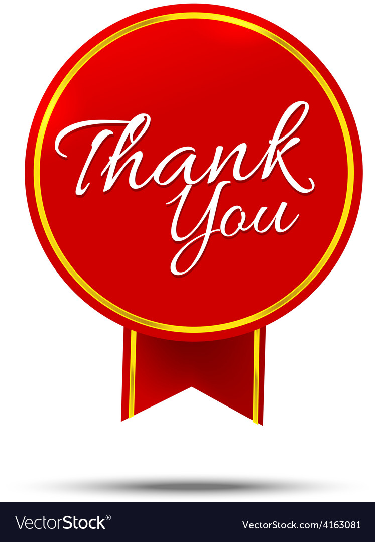 Thank you on banner sign message symbol isolated vector | Price: 1 Credit (USD $1)