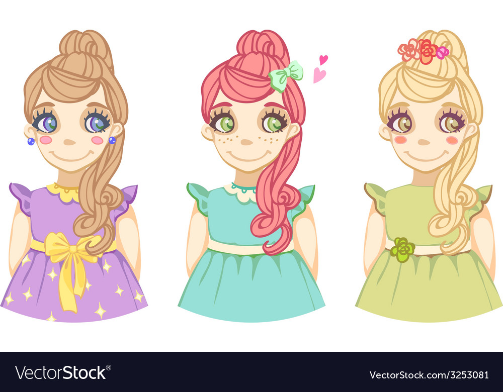 Three cute cartoon colored girls vector | Price: 1 Credit (USD $1)
