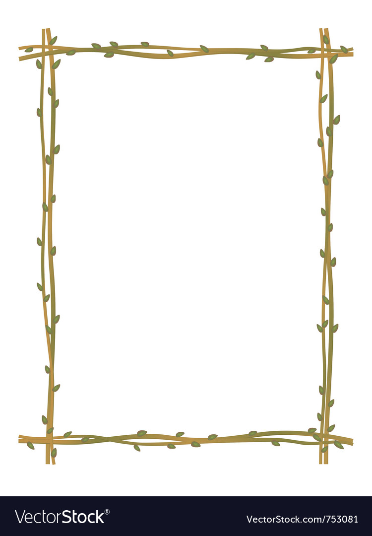 Twig sprig frame pattern background vector | Price: 1 Credit (USD $1)