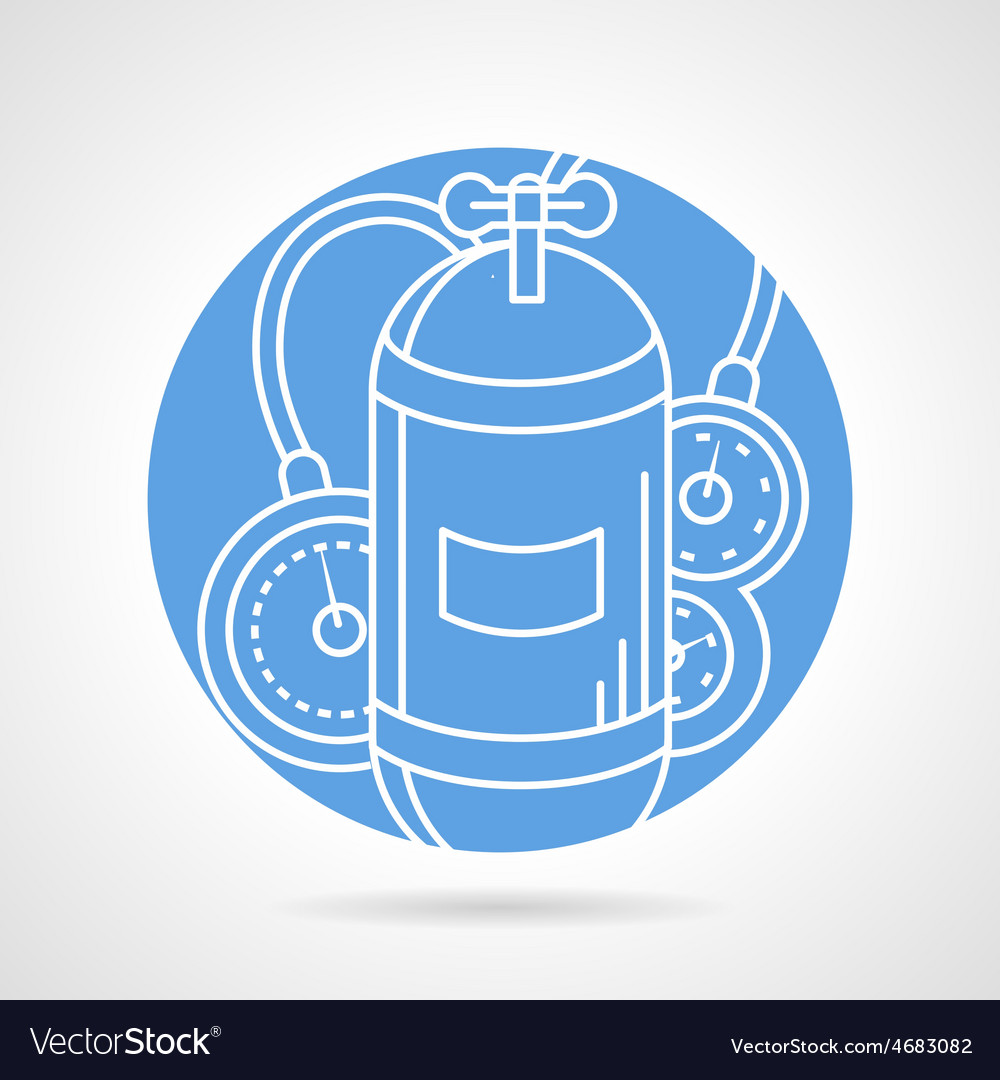 Aqualung blue round icon vector | Price: 1 Credit (USD $1)