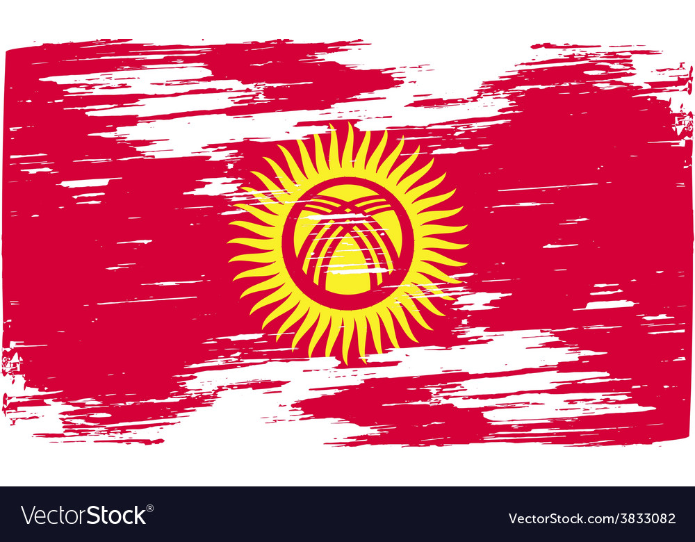 Flag of kyrgyzstan with old texture vector | Price: 1 Credit (USD $1)