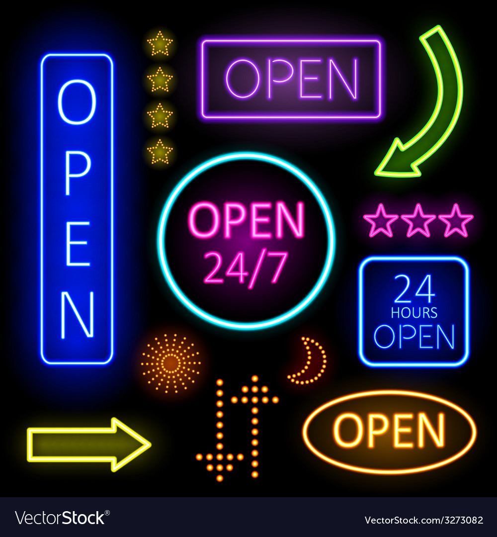 Glowing neon lights for open signs vector | Price: 1 Credit (USD $1)