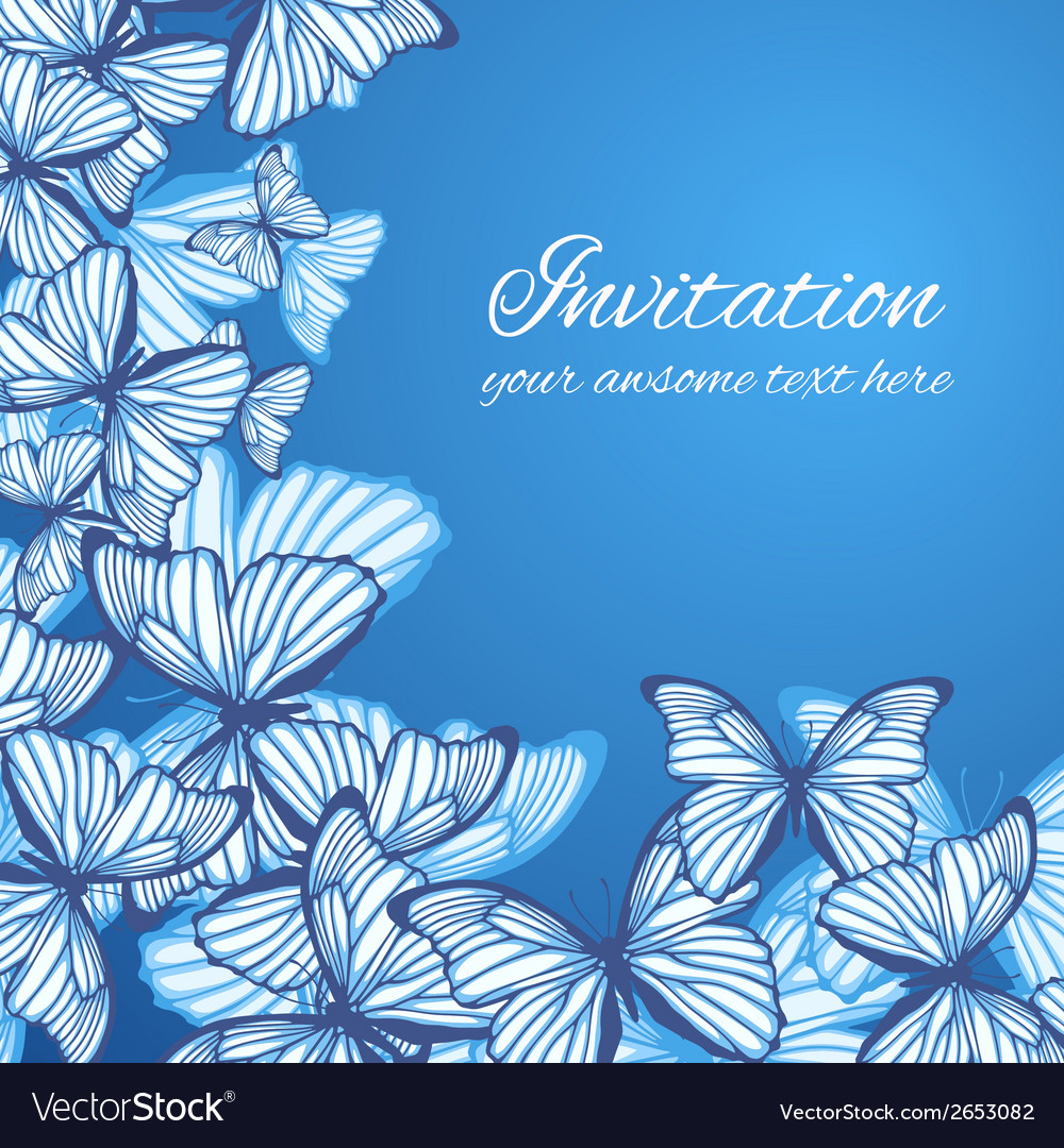 Greeting card template with hand drawn butterfies vector | Price: 1 Credit (USD $1)
