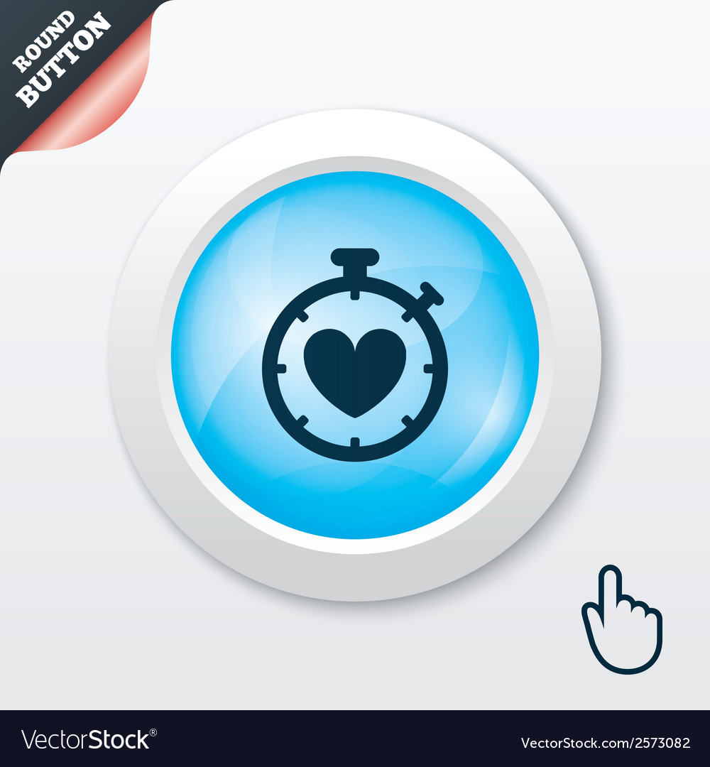 Heart timer sign icon stopwatch symbol vector | Price: 1 Credit (USD $1)