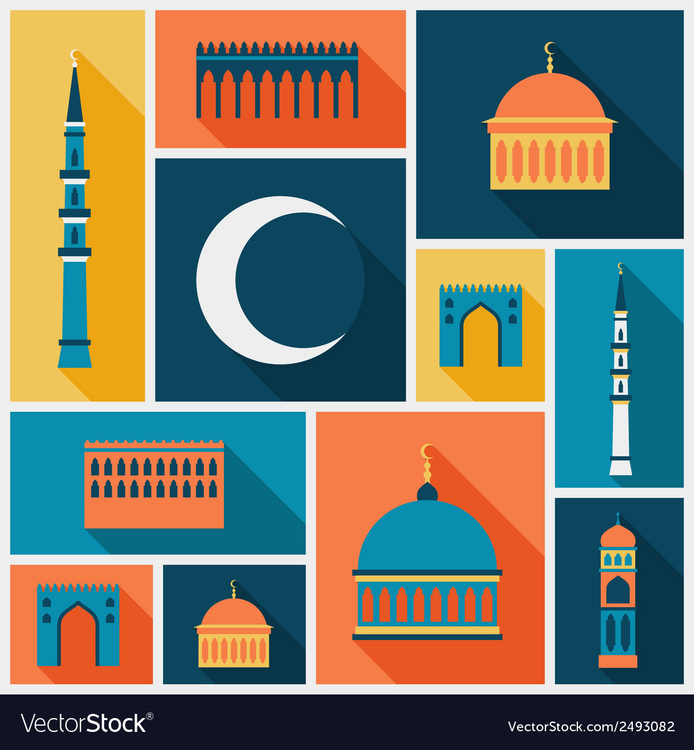 Islamic background with mosque in flat design vector | Price: 1 Credit (USD $1)
