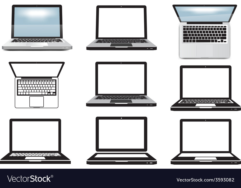 Laptop computer set of icons symbols vector | Price: 1 Credit (USD $1)