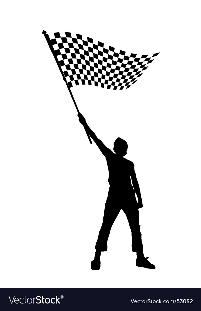 Man with checkered flag vector | Price: 1 Credit (USD $1)
