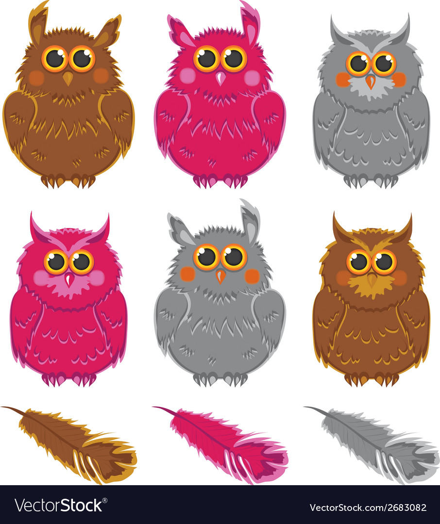 Owls pink brown gray plumage vector | Price: 1 Credit (USD $1)