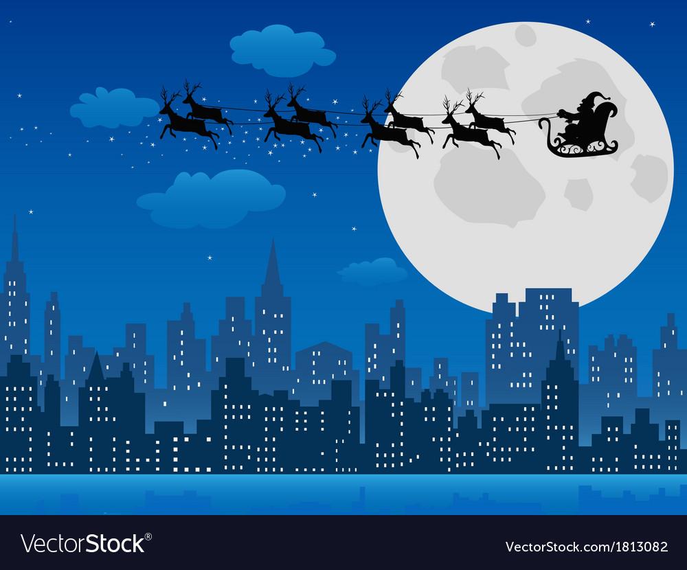 Santas sleigh over urban skyline vector | Price: 1 Credit (USD $1)