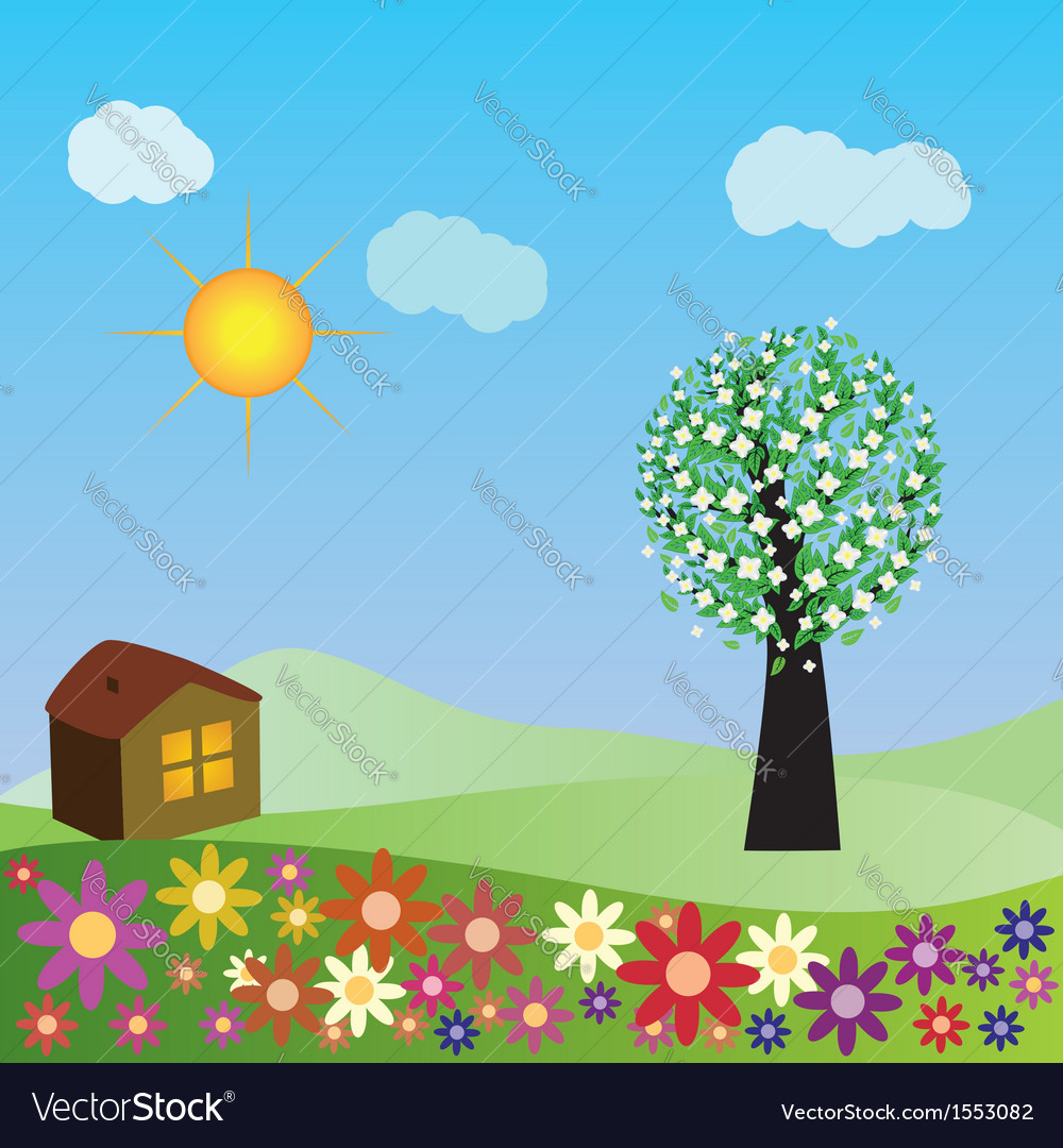 Springtime house vector | Price: 1 Credit (USD $1)