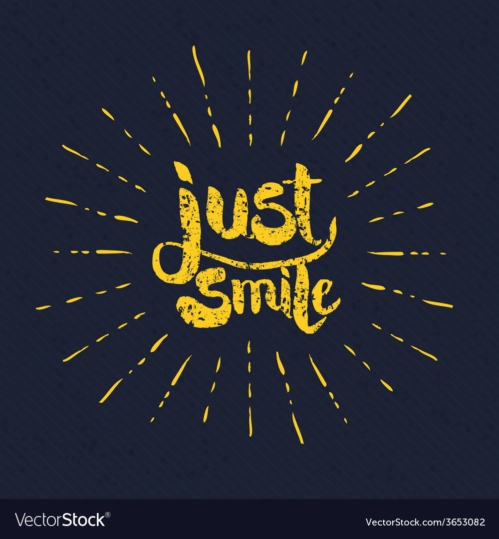 Yellow just smile texts with rays on gray vector | Price: 1 Credit (USD $1)