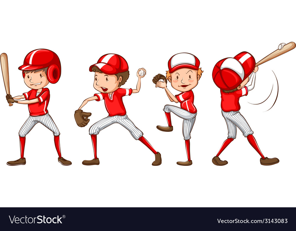 A sketch of the baseball players in red uniform vector | Price: 1 Credit (USD $1)