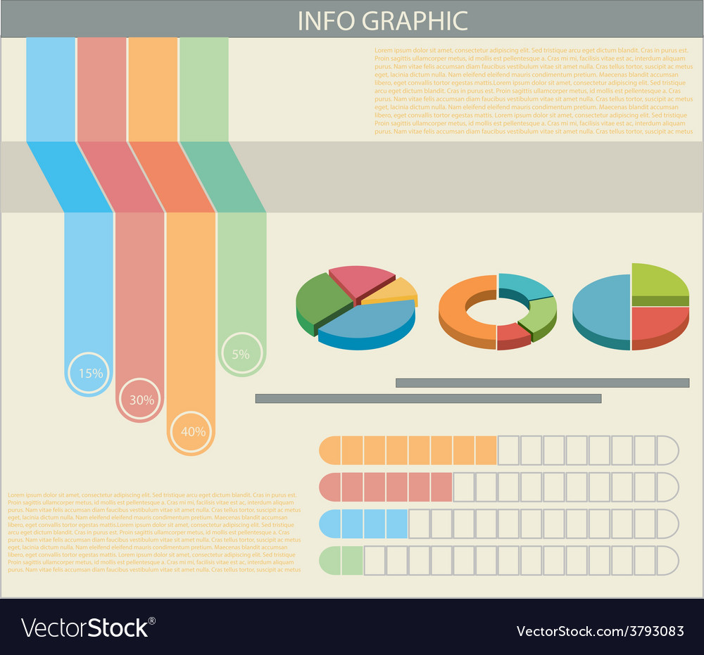 An infograph with colourful graphs vector | Price: 1 Credit (USD $1)