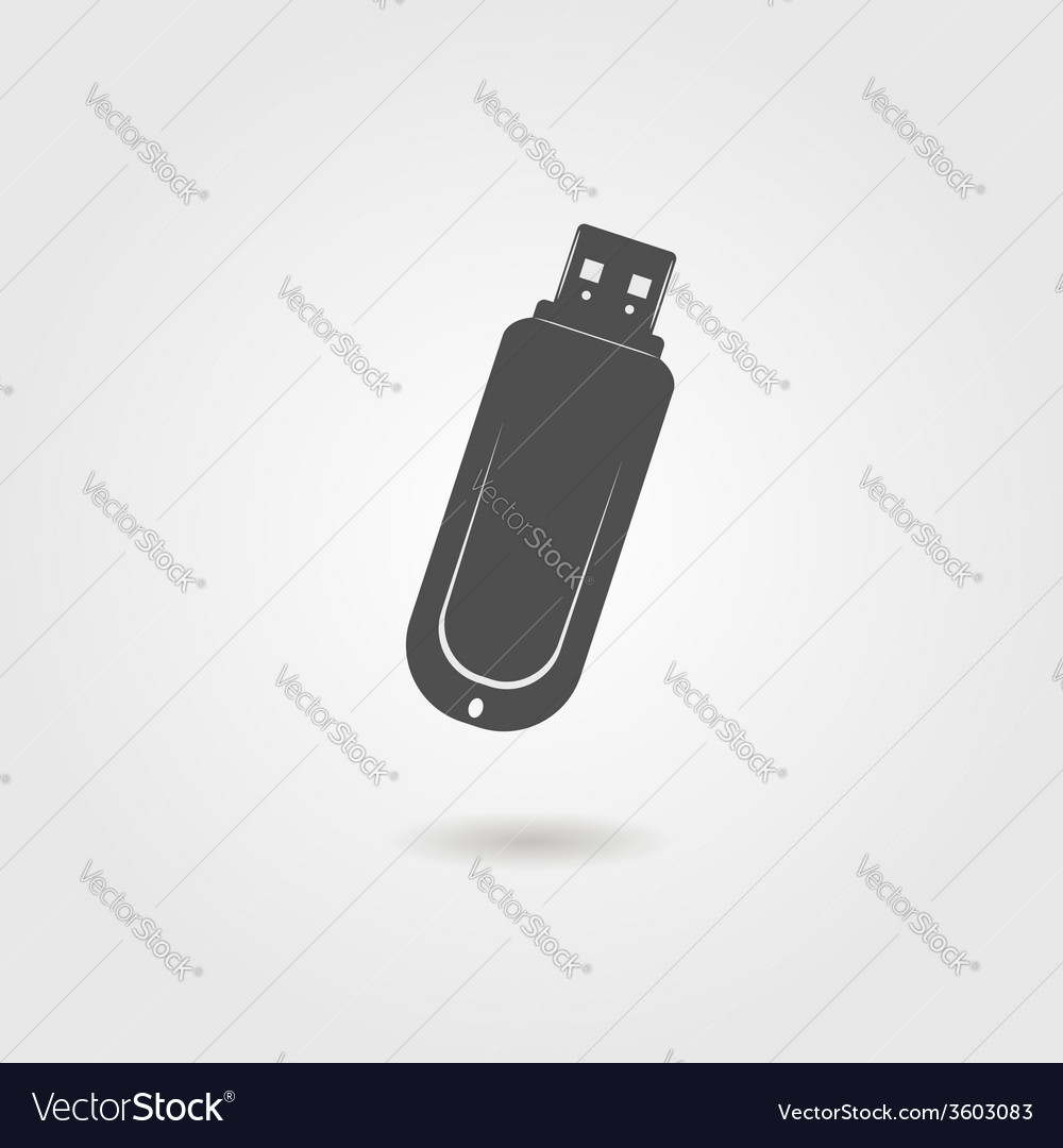 Black flash drive icon with shadow vector | Price: 1 Credit (USD $1)