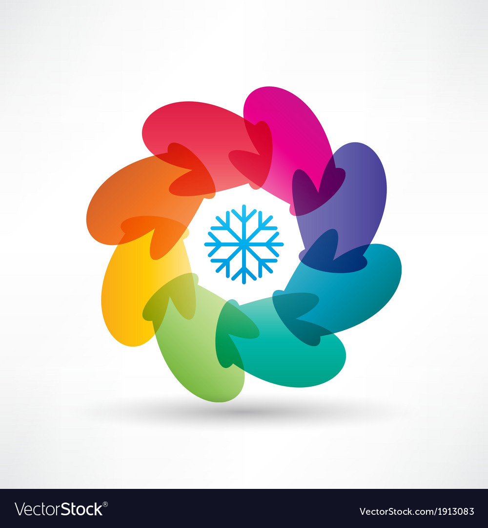 Circle of colored mittens vector | Price: 1 Credit (USD $1)