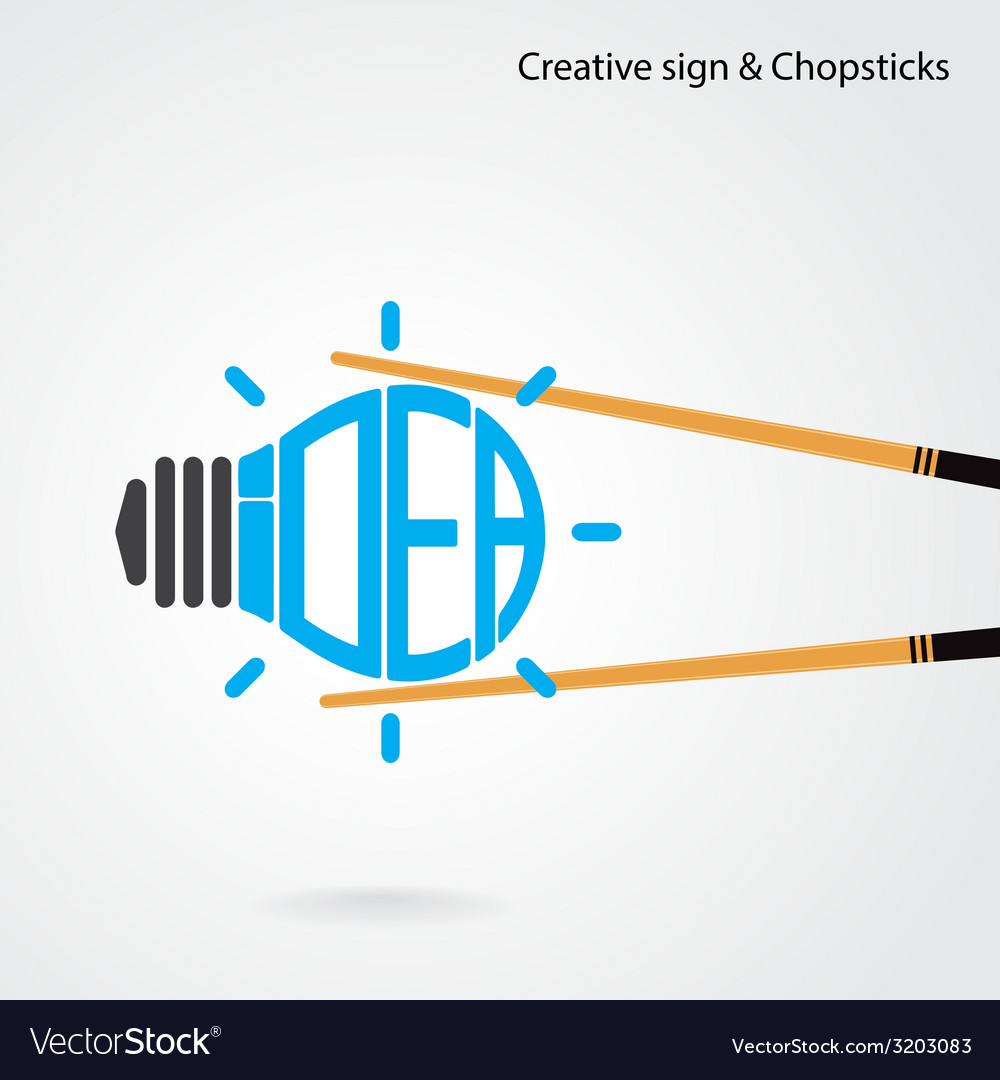 Creative light bulb concept and chopsticks symbol vector | Price: 1 Credit (USD $1)