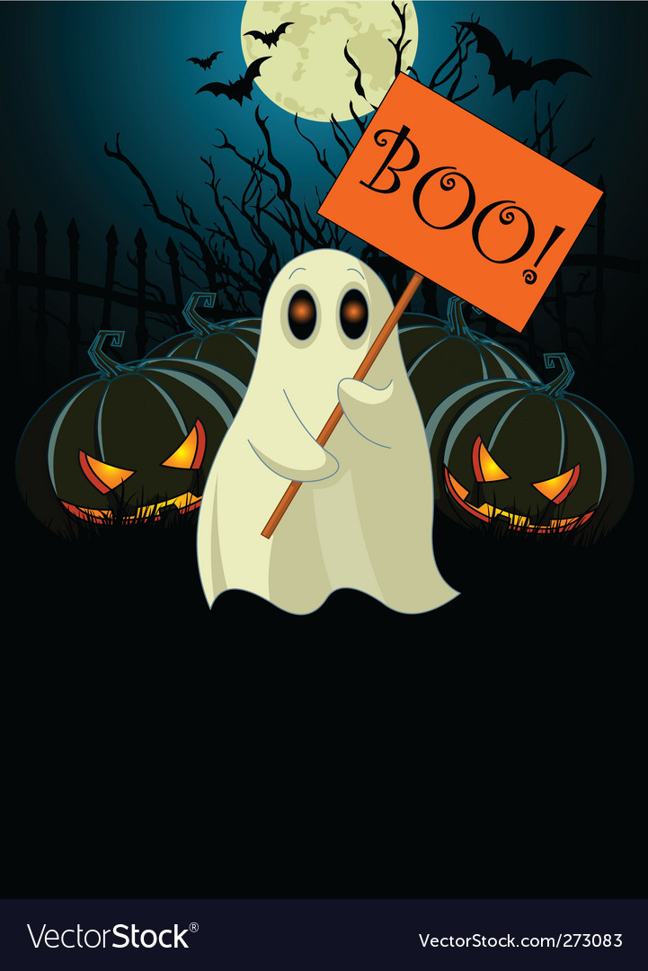 Ghost with sign halloween invitation vector | Price: 1 Credit (USD $1)
