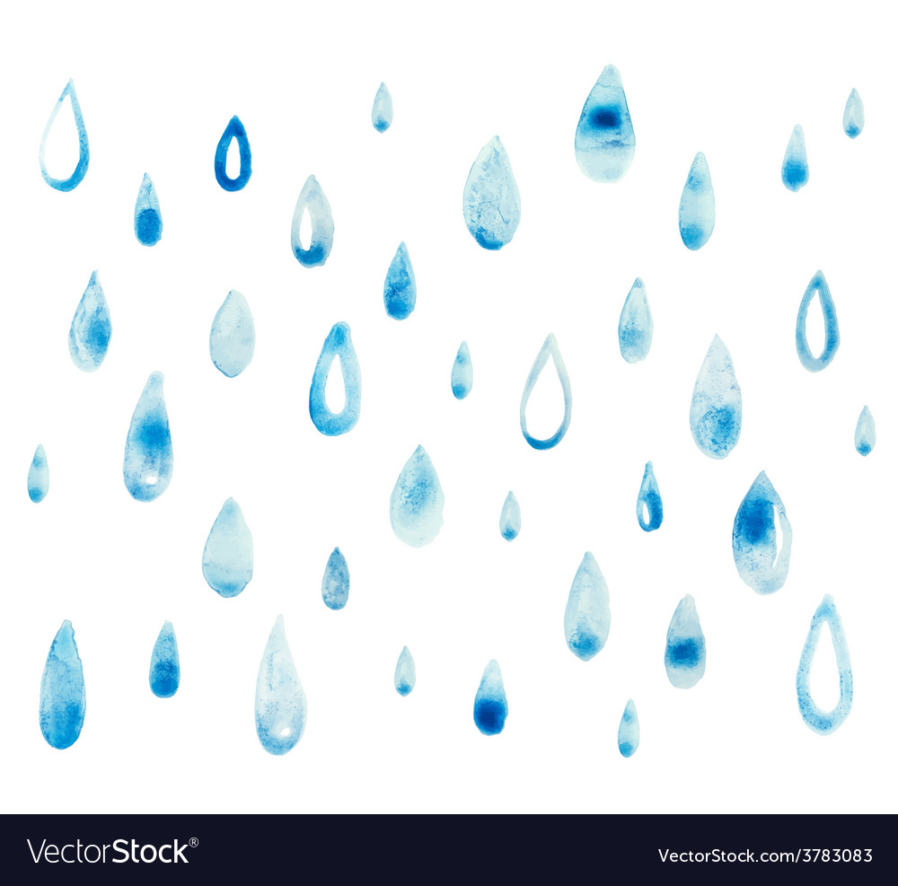 Hand draw aquarelle art paint blue watercolor rain vector