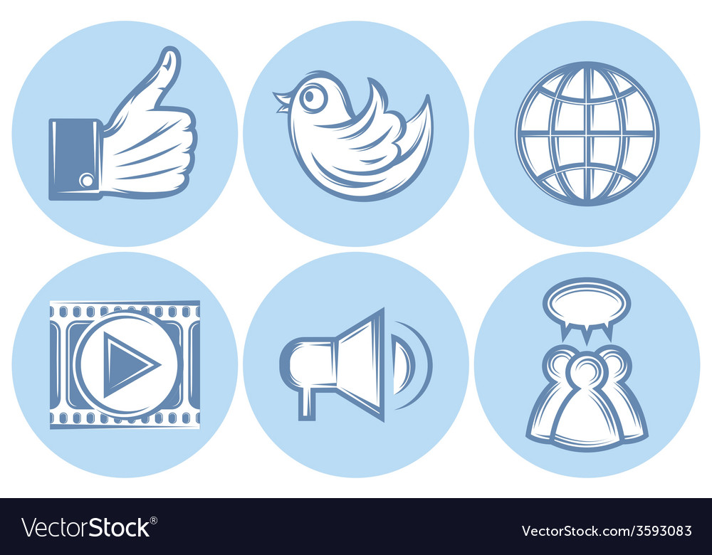 Icons for social networking internet twitter like vector | Price: 1 Credit (USD $1)
