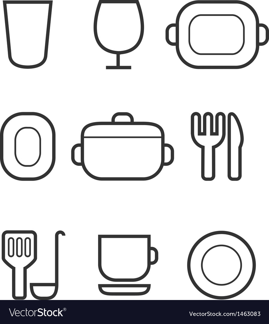 Kitchen icon set vector | Price: 1 Credit (USD $1)