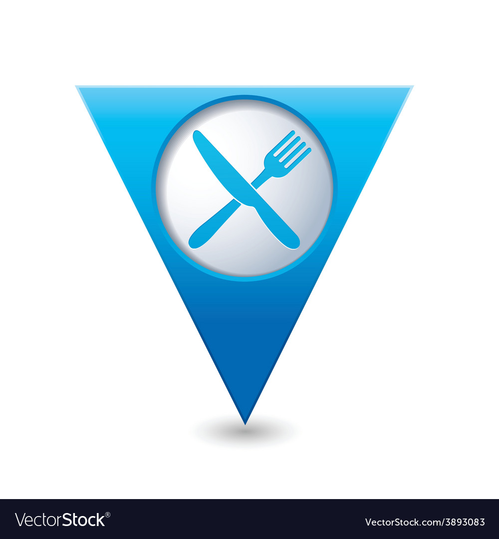 Knife and fork blue triangular map pointer vector | Price: 1 Credit (USD $1)