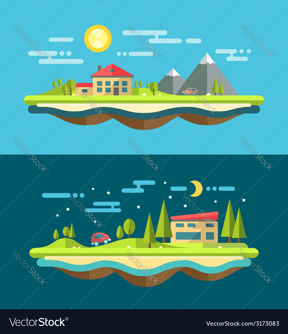 Modern flat design conceptual landscape with vector | Price: 1 Credit (USD $1)