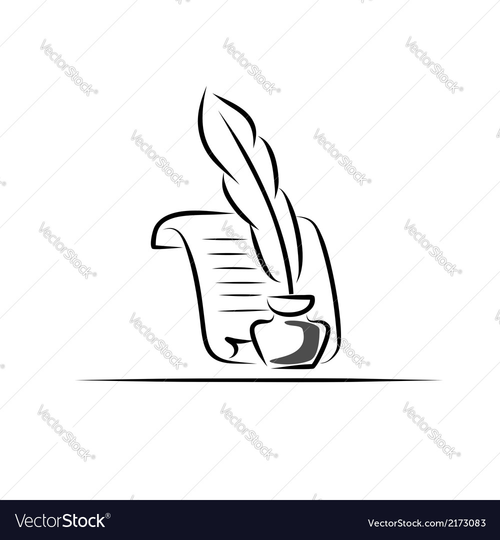Paper scroll feather and inkwell vector | Price: 1 Credit (USD $1)