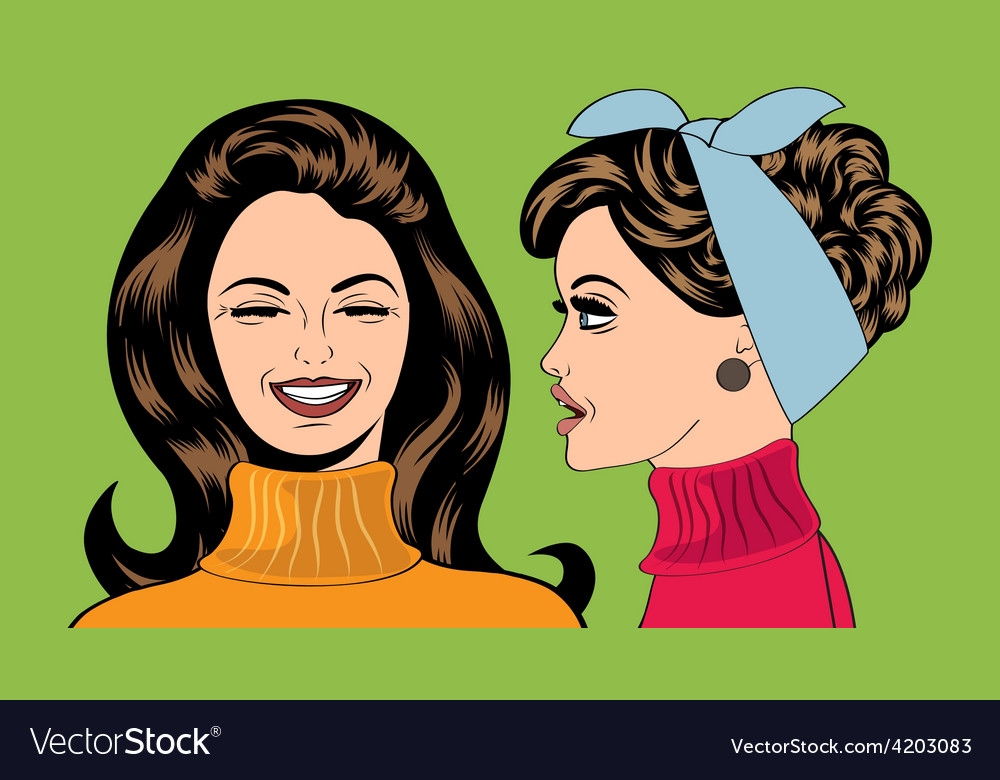 Pop art retro women in comics style that gossip vector | Price: 1 Credit (USD $1)