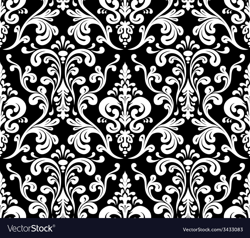 Seamless elegant damask pattern black and white vector | Price: 1 Credit (USD $1)