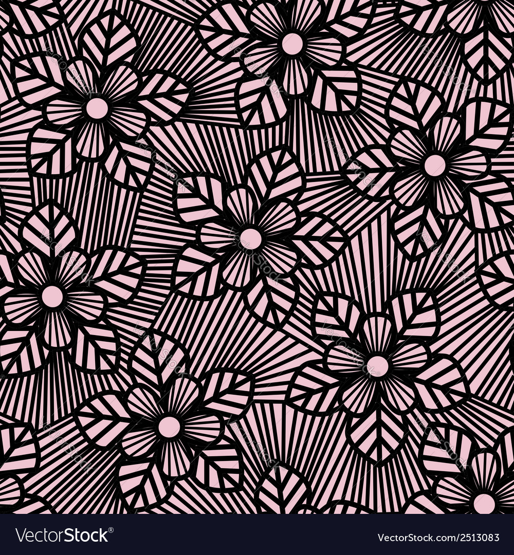 Seamless flower pattern made of straight lines vector | Price: 1 Credit (USD $1)