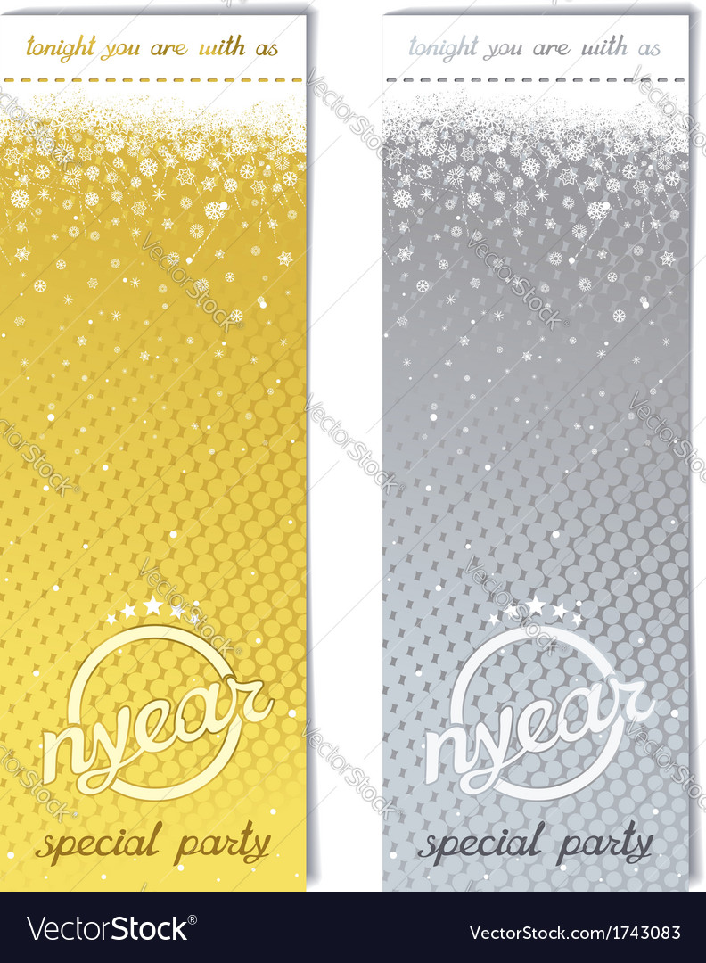 Sparkling metal ticket for christmas party vector | Price: 1 Credit (USD $1)