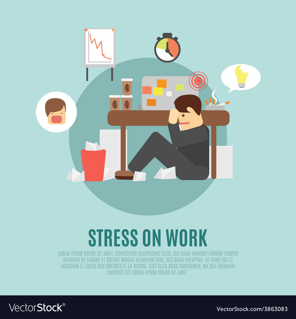 Stress on work flat icon vector | Price: 1 Credit (USD $1)