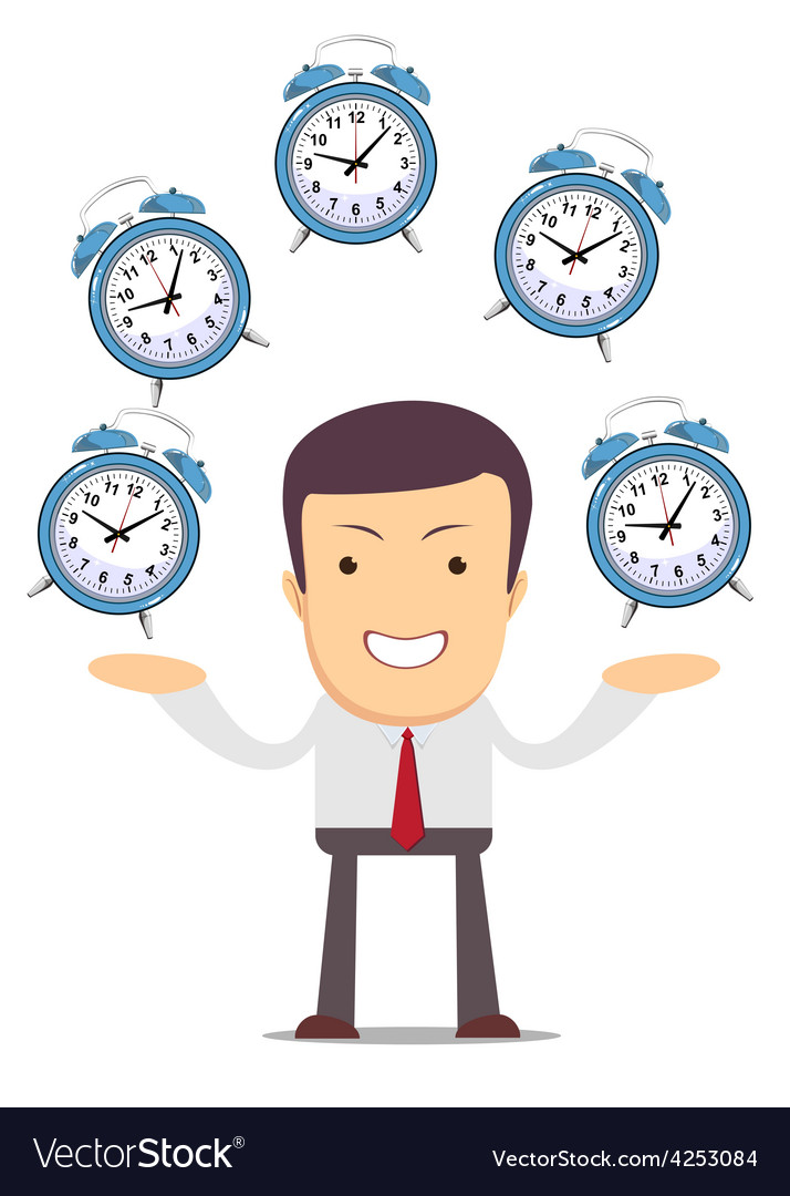 Businessman juggling with alarm clocks vector | Price: 1 Credit (USD $1)
