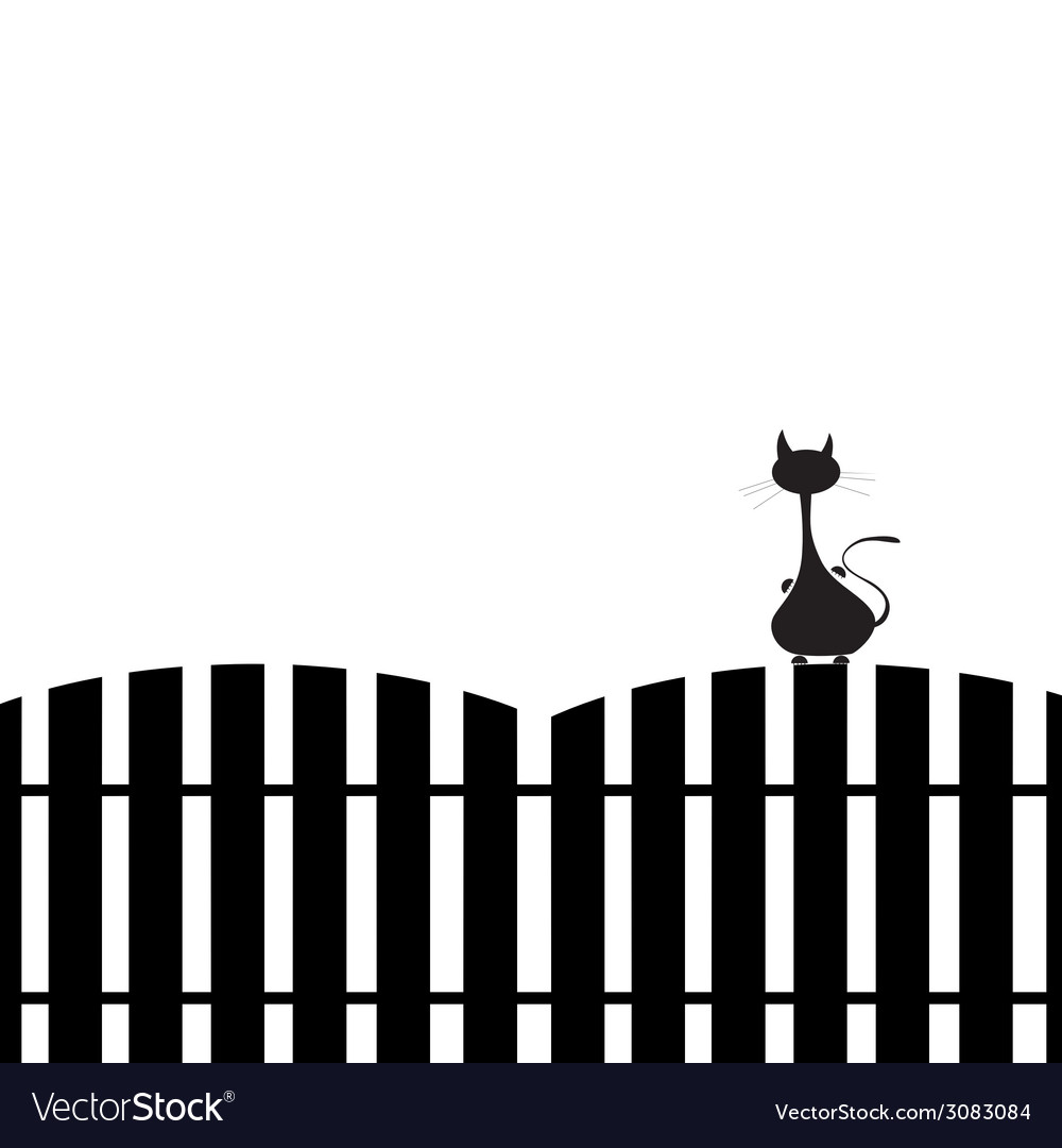 Cat on the fence silhouette vector | Price: 1 Credit (USD $1)