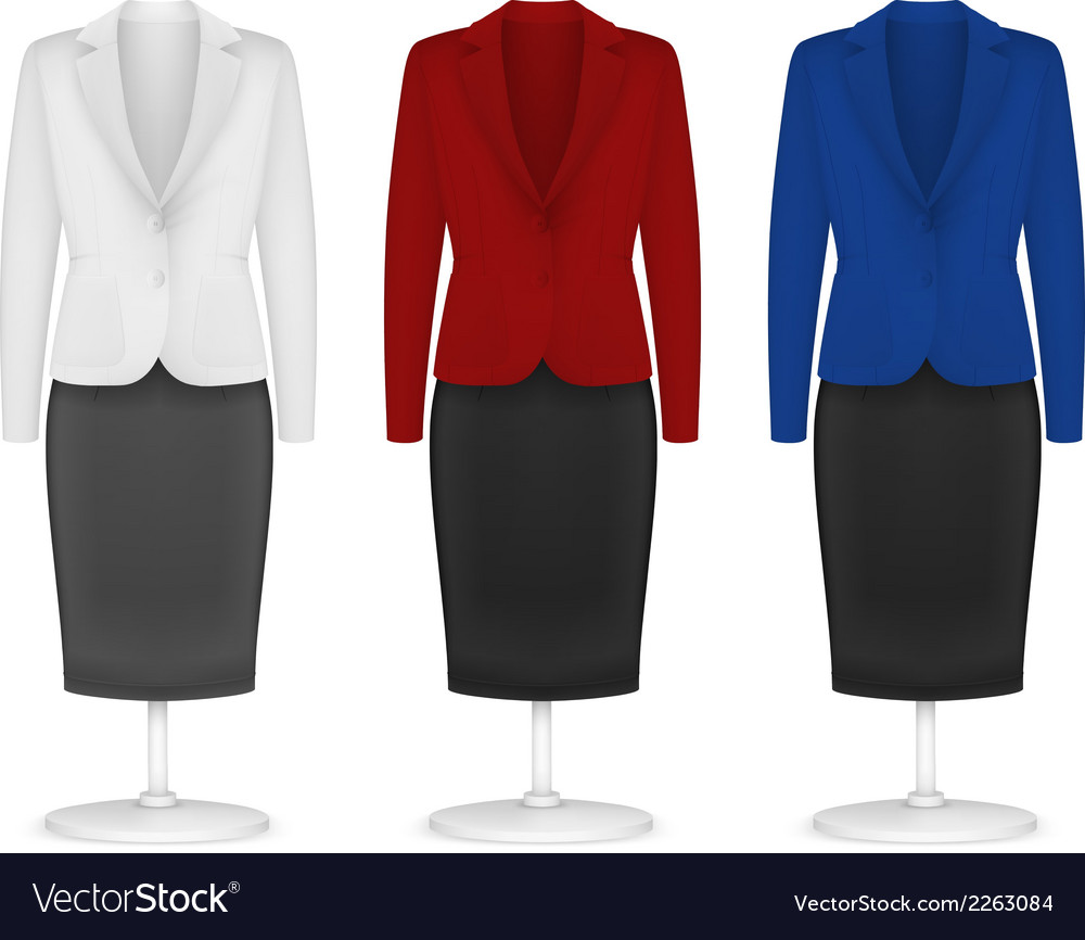 Classic women plain jacket and skirt template vector | Price: 1 Credit (USD $1)