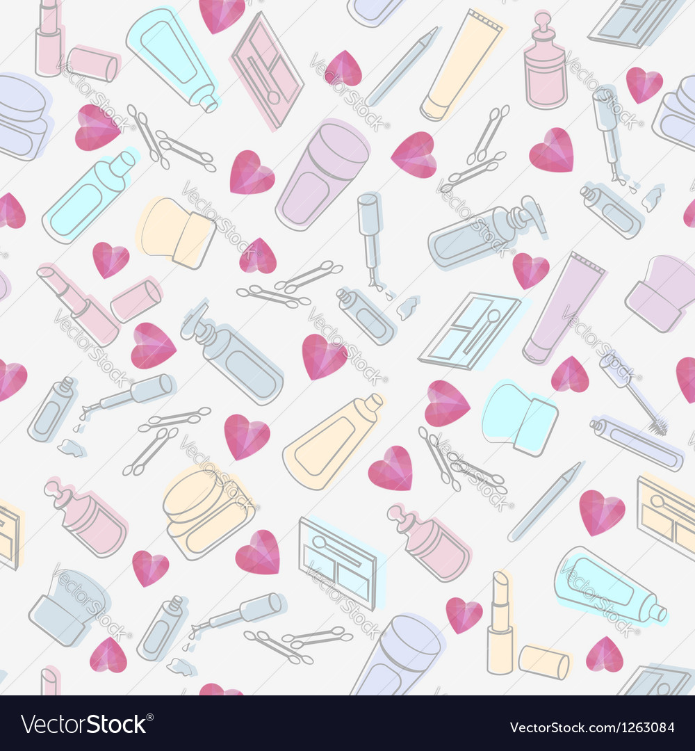 Cosmetics and beauty products with hearts vector | Price: 1 Credit (USD $1)