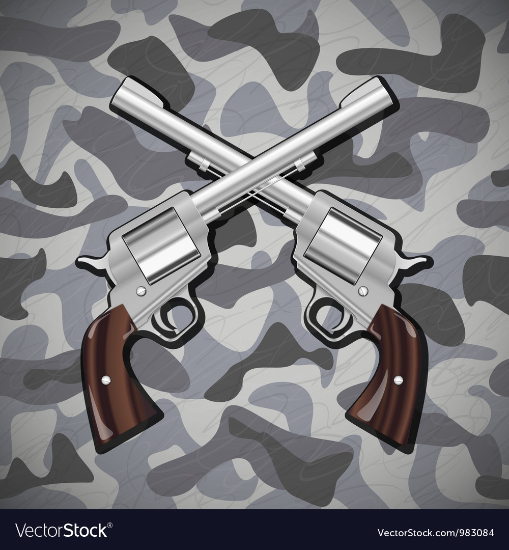 Crossed revolvers vector | Price: 1 Credit (USD $1)